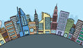 Huge cartoon city skyline with copyspace Royalty Free Stock Photography