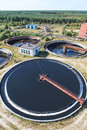 Huge circular sedimentation tank Stock Photo