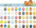 Huge collection of 50 unique Easter Eggs Royalty Free Stock Photo
