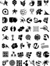 Huge collection of black and white icons and logos Stock Photos