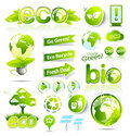 Huge collection of green eco and bio vector elemen Royalty Free Stock Photos