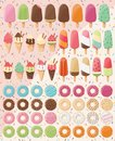 Huge collection of 28 ice creams and 32 donuts, delicious and tasty summer treats