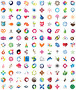 Huge collection of trendy icons one hundred thirty pieces colorful and unique design elements emblems and Stock Photos