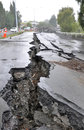 Huge cracks road caused magnitude earthquake Stock Image