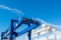Huge cranes at Stuttgart21 tunnel drilling site