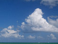 Huge Cumulus clouds over the tropical ocean Royalty Free Stock Photos