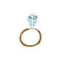 huge diamond ring cartoon Royalty Free Stock Photo