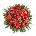 Huge edible fruit bouquet consisting of pomegranates, apples, grapes, rose flowers and fir twigs on white background Royalty Free Stock Photo