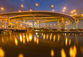 Huge elevated crossroad river front view at night Royalty Free Stock Photos
