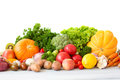 Huge group of fresh vegetables and fruits isolated on a white background Stock Photography