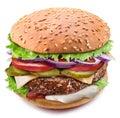 Huge hamburger. Perfect shot of burger`s layers. File contains clipping path