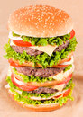 Huge hamburger shoot from above Royalty Free Stock Image