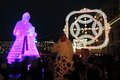 Huge ice figure of a woman in Moscow. The Maslenitsa doll