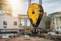 Huge industrial crane hook in the port for container cargo lifting. Royalty Free Stock Photo