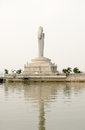 Huge landmark statue buddha middle hussain sagar lake hyderabad india Royalty Free Stock Photo