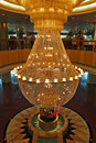 A huge magnificent crystal chandelier Royalty Free Stock Photo