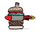 Huge missile burger junk food hamburger with Royalty Free Stock Image