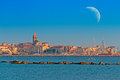 Huge moon over alghero sardinia Stock Image