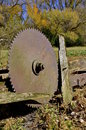 Huge old circular saw blade Royalty Free Stock Photo