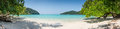 Huge Panorama Wild Tropical Beach. Turuoise Sea at Surin Island Marine Park. Thailand. Royalty Free Stock Photo