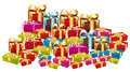 Huge pile of colorful festive gifts. Stock Image