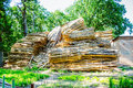 Huge pile of large sawn logs bars from the forest Royalty Free Stock Photo