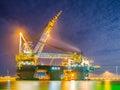 Huge Pipelay Crane Vessel Royalty Free Stock Photo