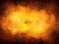 Huge realistic hot explosion, orange color with sparks