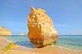 Huge rock at the cliff beach of praia da marinha lovely hidden beach near lagoa algarve portugal europe Stock Photo