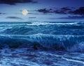 Huge sea waves running on sandy beach at night Royalty Free Stock Photo
