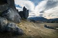 Huge stone of castle hill in cloudy day new zealand located within the kura tawhiti conservation area south island Stock Photos