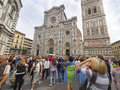 Huge tourist crowds in florence italy front of the duomo Stock Image