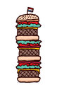 Huge triple cheesburger cartoon illustration of a giant hamburger junk food Stock Photos
