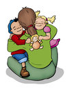 Hugging illustration of a mother a boy and a girl Royalty Free Stock Image