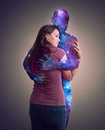 Hugging the universe Royalty Free Stock Photo