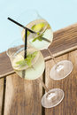 Hugo prosecco elderflower soda ice summer drink Royalty Free Stock Photo