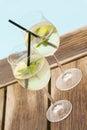 Hugo prosecco elderflower soda ice summer drink Royalty Free Stock Photo