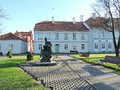 Hugo Scheu statue and Manor House, Lithuania Royalty Free Stock Photo