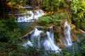 Hui mae kamin waterfall green forest in summer whit kanchanaburi thailand Royalty Free Stock Photo