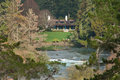 Huka lodge mw longshot over waikato river falls of world renowned a luxury retreat and fishing in new zealand Stock Photo