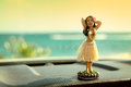 Royalty Free Stock Photos Hula dancer doll on Hawaii car road trip