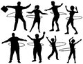 Hula hoop people set of editable vector silhouettes of exercising with a with figures and hoops as separate objects Stock Photos