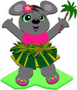 Hula Mouse with a Palm Tree Stock Photo