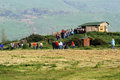 Hula valley israel isr mar visitors at bird watching house in nature reserve on mar an estimated million migrating birds now pass Stock Images