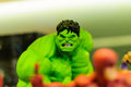 Hulk figurine realistic of comic character on a sophisticated toy and collection shop Stock Photos