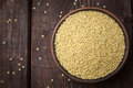 Hulled millet on a dark background Royalty Free Stock Photography