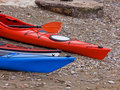 Hulls of Kayaks on the Shore Stock Photography