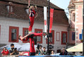 Human acrobatic tower sibiu old city centre transylvania romania june sibiu international theatre festival trampoline mission a Stock Photos