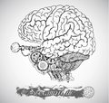 Human anatomy brain with vintage mechanism in steampunk style
