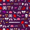 Human anatomy pattern seamless. Skeleton and Internal organs background. Systems of man body and organs ornament. medical systems